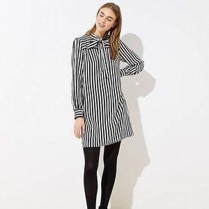 Loft striped bow neck dress